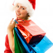 Cheerful girl with Chrismas presents — Stok fotoğraf