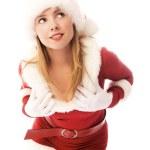 Dreamy girl dressed as Santa — Stock Photo