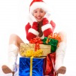 Happy girl with Christmas presents — Stock Photo