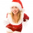 Cheerful girl dressed as Santa — Stock Photo #3190214