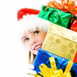Pretty girl with the christmas presents — Stock Photo