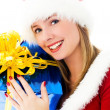 Beautiful woman holding a Christmas present — Stock Photo #3190231