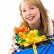 Suprised girl with a lot of presents — Stock Photo #3190307