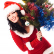 Beautiful brunette woman with a Christmas tree - Stock Photo