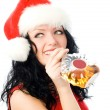Royalty-Free Stock Photo: Beautiful brunette woman drinking cognac