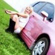 Girl with her car - Stock Photo