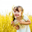 Girl in the wheat field — Stock Photo