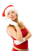 Dreamy girl wearing Santa's hat — Foto Stock