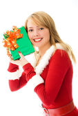 Happy girl with a Christmas present — Stock Photo