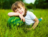 Girl with water-melon — Stock Photo