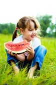 Girl eating water-melon — Stock Photo