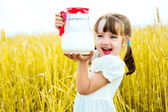 Girl with milk — Stock Photo