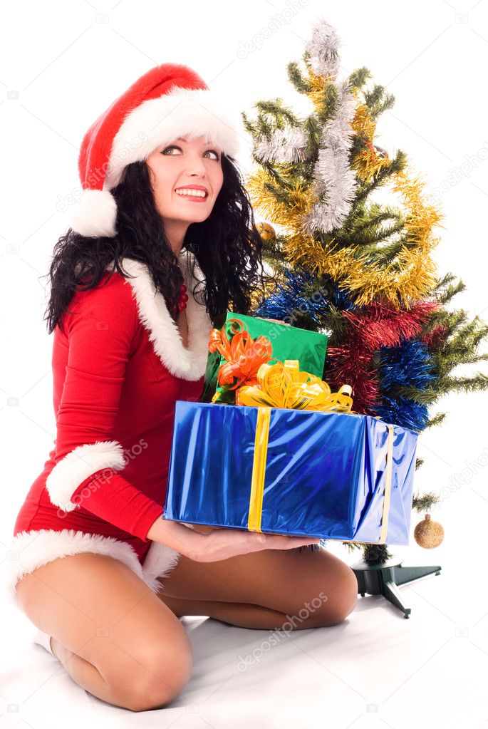 fucking awesome brunette under the christmas tree  476412