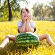 Girl with water-melon - Stock Photo