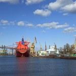 Large vessel in shipyard — Stock Photo