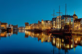 Gdansk of Riverside at night — Stock Photo