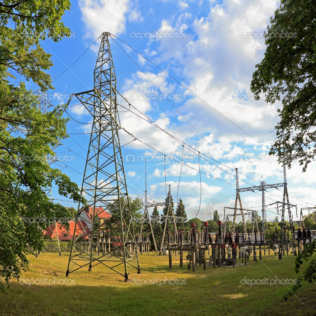Transformer station, high voltage and power. — Stock Photo #3431837