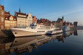 Gdansk riverside at dawn — Stock Photo