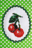 The cherry embroidered by beads — Stock Photo