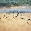 Word LOVE on beach sand - Foto Stock