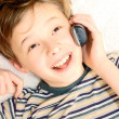 teen boy talking on cell phone — Stock Photo