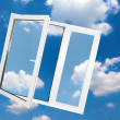 Window on blue sky — Stock Photo