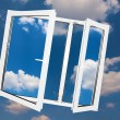 Window on sky background. — Stock Photo