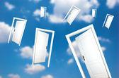 Doors one blue sky — Stock Photo