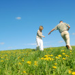 Couple in love on meadow — Stock Photo