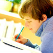 Boy doing homework — Stock Photo #3490359