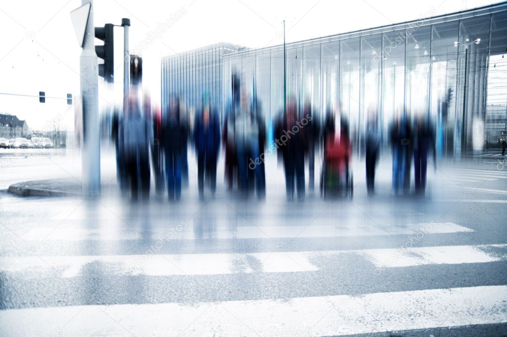 Pedestrian crossing rush. moving motion — Stock Photo #3504288