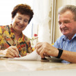 Senior couple signing document - Stock Photo