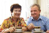 Happy smiled senior couple — Stock Photo