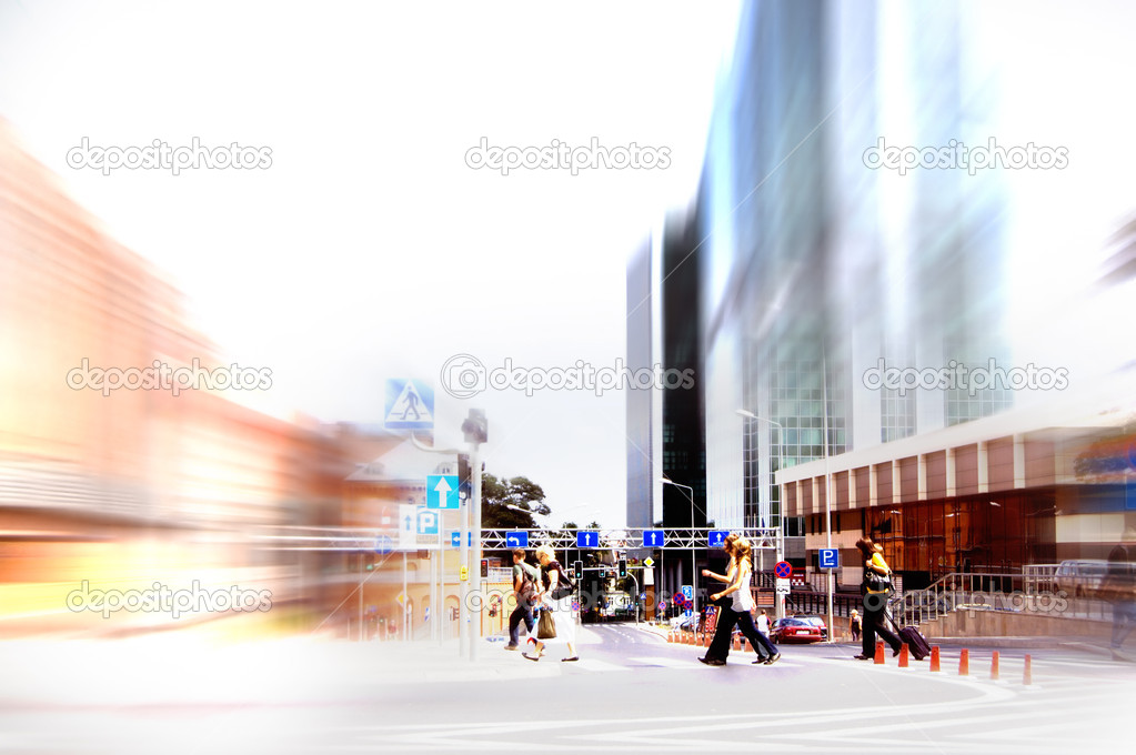 Abstract business rush hour. Motion blurred — Stock Photo #3510566