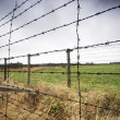 Barbed wire fence to prison - Stock Photo