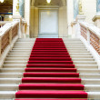 Red carpet on stairs. National Museum in Prague — Stock Photo #3785743