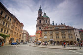 Prague. Malostranske square, St. Nicholas Church — Stock Photo