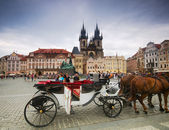 Prague old city square, Tyn Church — Stock Photo