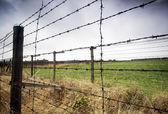Barbed wire fence to prison — Stock Photo