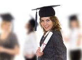 Unga kvinnor med diplom — Stockfoto