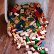 Box of wooden blocks — 图库照片