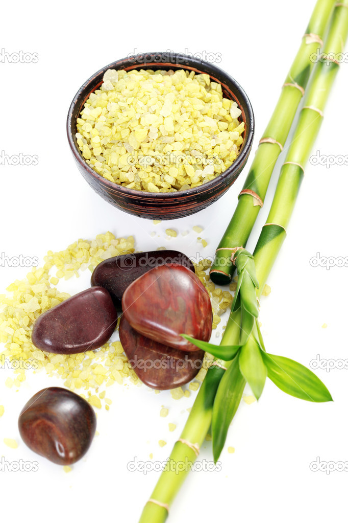 Green bath salt with bamboo on white - beauty treatment  Stock Photo #2974002