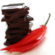 Dark chocolate with chilli pepper — Stock Photo