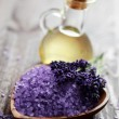 Lavender bath salt and massage oil — Stock Photo #3374918