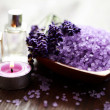 Stock Photo: Lavender bath salt and massage oil