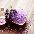 Lavender bath salt and massage oil — Stock Photo