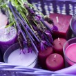 Basket with candles — Stockfoto