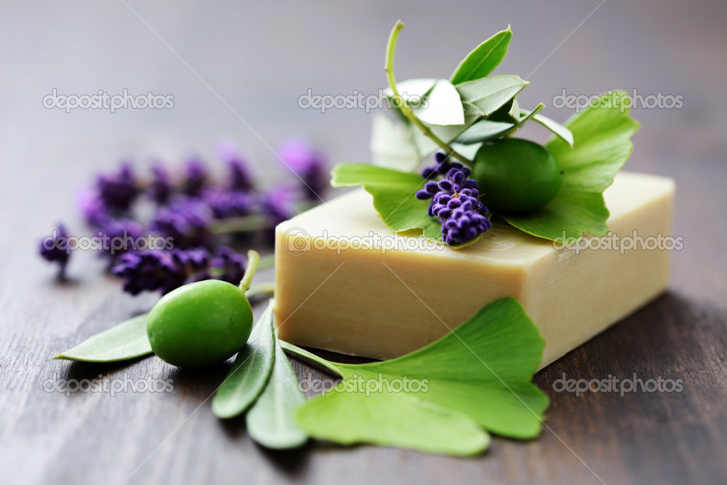 Bar of herbal soap with fresh herbs and olives - beauty treatment — Stock Photo #3833909