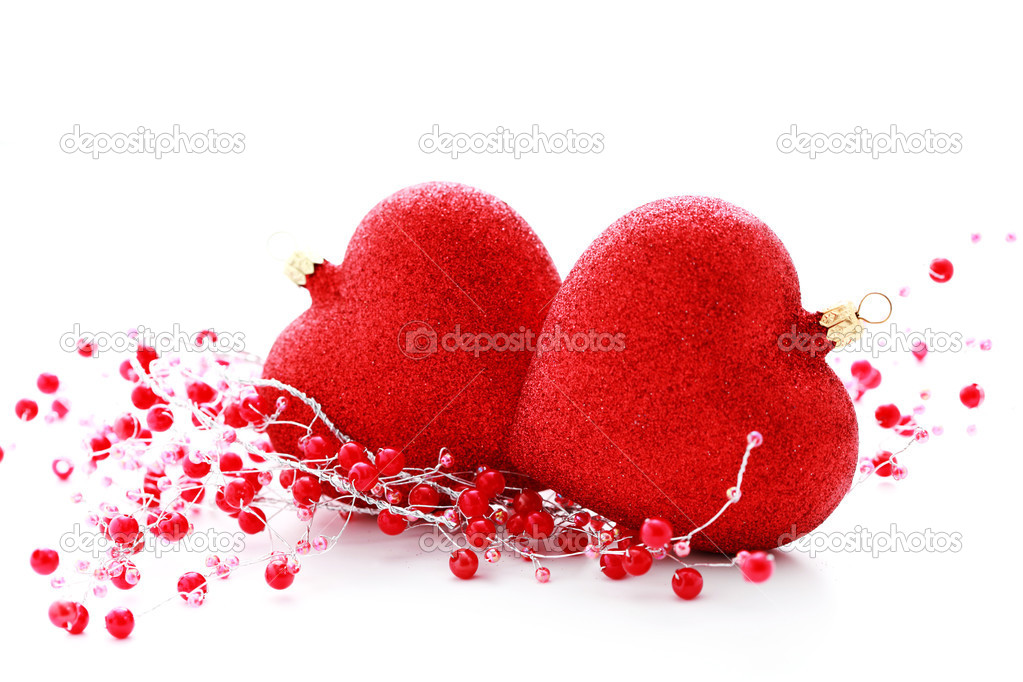 Red Christmas baubles heart on white background - Christmas time — Stock Photo #3943359