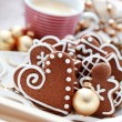 Gingerbreads with coffee — Stock Photo
